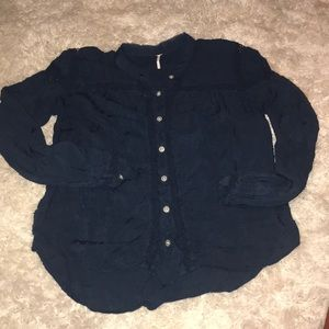 Free People Pintuck Navy Shirt Blouse Size S Small